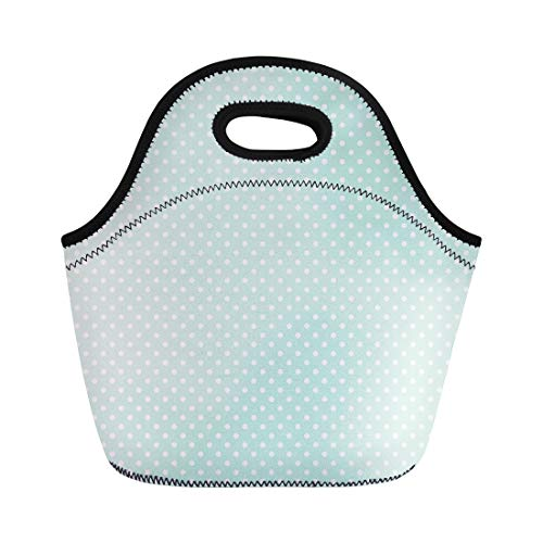 Semtomn Lunch Tote Bag Blue White for Light Mint Polka Dots Pattern Green Reusable Neoprene Insulated Thermal Outdoor Picnic Lunchbox for Men Women