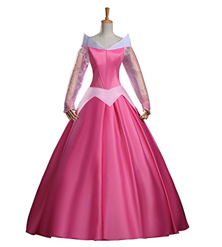 Cosrea Disney Sleeping Beauty Aurora Classic Satin Dress Cosplay Costume (Aurora Costume Adult)