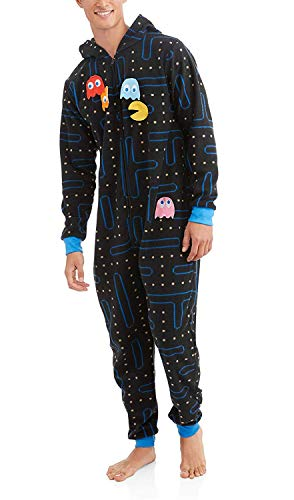 Face Pac Man (Pacman Gamer Adult Novelty Hooded Onesie Pajama with Detachable Pieces (S/M))
