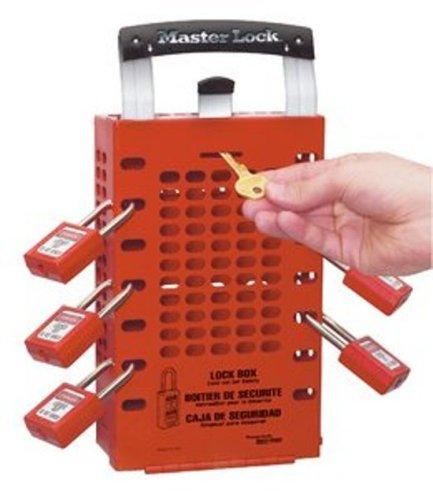 Master Lock Group Lock Box for Lockout/Tagout, Steel, Red