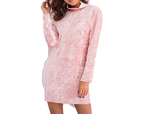 Turtleneck Long Sleeve Mini Dress Women 2018 Casual A Line Robe Femme Elegant Ladies (Avalon 9 Drawer Dresser)