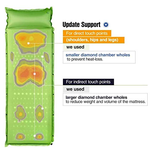 Air Pad Army Green Self-Inflating Sleeping Pad with Attached Pillow Camping Air Mattress 2'' Height