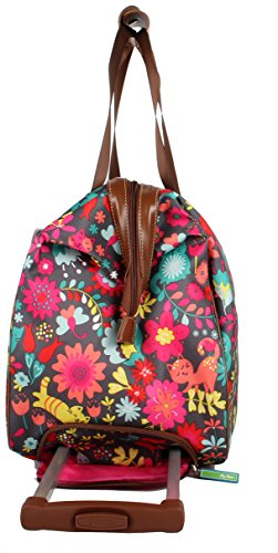 Lily Bloom Luggage Designer Pattern Suitcase Wheeled Duffel Carry On Bag (14in, Playful Garden) by Lily Bloom (Image #3)