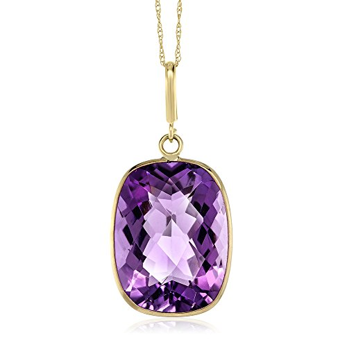9.00 Ct Purple Amethyst 14K Yellow Gold Pendant Necklace With 18 Inch Solid 14k Gold Chain (16X12MM Cushion Checkerboard) (Amethyst Yellow Necklace Gold)