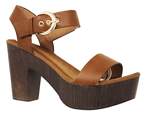 MVE Shoes Women's Ankle Strap Faux Wood Platform Chunky Heel Sandal, Tan Size 8.5 (Brown Wedge Platform)