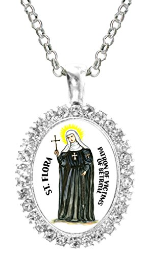 St Flora Patron of Victims of Betrayal Cz Crystal Silver Necklace Pendant