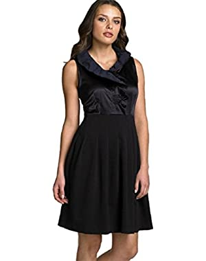 Theory Hollis Cupid Dress Black Surplice Ruffle Trim Cocktail Sz 4