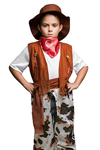 Kids Boys Cattle Baron Costume Rodeo Champion Western Cowboy Dress Up Role Play (3-6 years, (The Red Baron Costume)