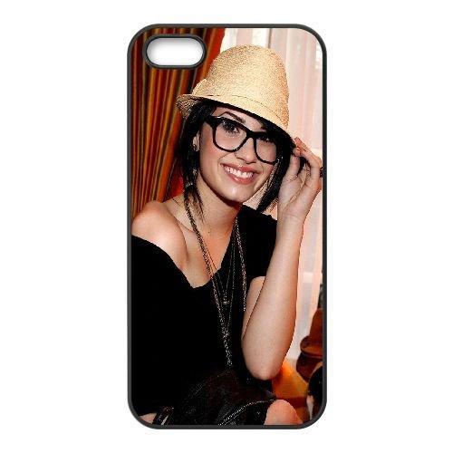 Demi Lovato2 coque iPhone 5 5S cellulaire cas coque de téléphone cas téléphone cellulaire noir couvercle EOKXLLNCD23161