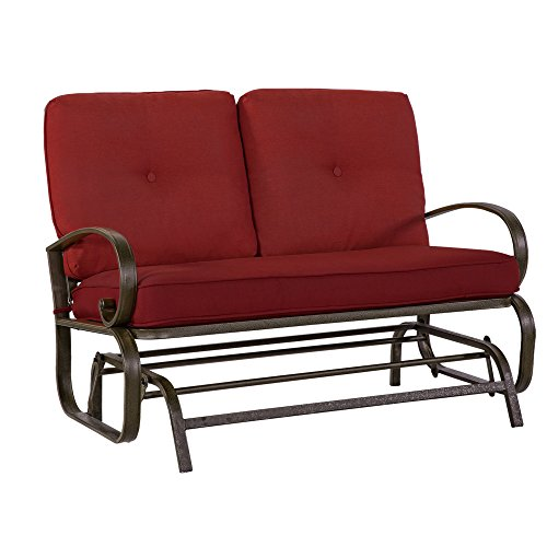 Cloud Mountain Patio Glider Bench Outdoor Cushioned 2 Person Swing Loveseat Rocking Seating Patio Swing Rocker Lounge Glider Chair, Brick Red ()