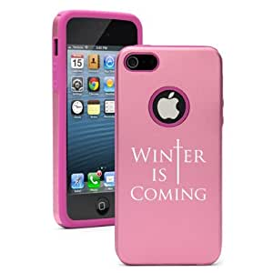 iPhone 5 5s Aluminum & Silicone Hard Case Cover Winter Is Coming (Pink)