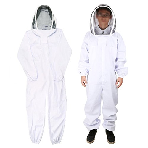 Qlychee Full Body Beekeeping Suit White Cotton Bee Keeping Coverall Uniform Veil Hood
