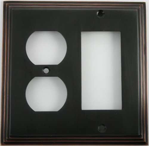 Deco Step Style Oil Rubbed Bronze 2 Gang Wall Plate - 1 Duplex Outlet 1 GFI/Rocker Opening by Classic Accents, Inc.