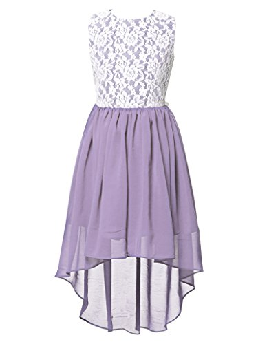 FAIRY COUPLE Big Girl's Lace Flower Asymmetrical Chiffon Bridesmaid Dress K0210 8 Lilac (Fairy Tale Couples)
