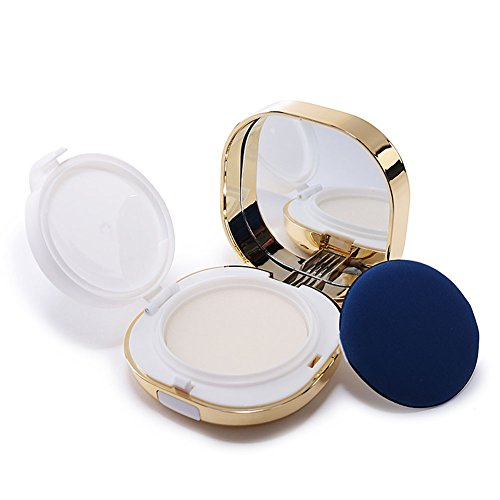 (erioctry 15ml 0.5oz Empty Luxury Reusable Gold Cosmetic Powder Container Air Cushion Powder Puff Case Holder with Powder Puff Sponge and Mirror Portable Makeup Foundation BB Cream Box)