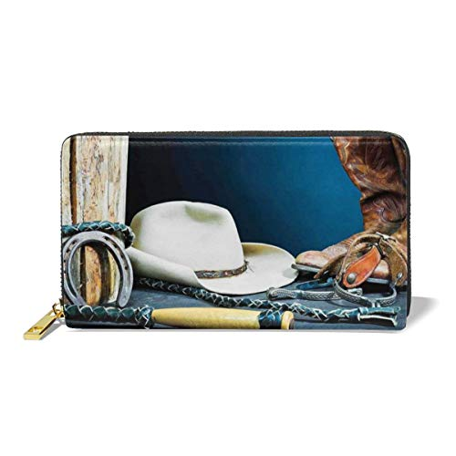 Women's Long Leather Card Holder Purse,Equestrian Backdrop With Antique Horseshoe Hat Cowboy Texas Style,Elegant Clutch Wallet