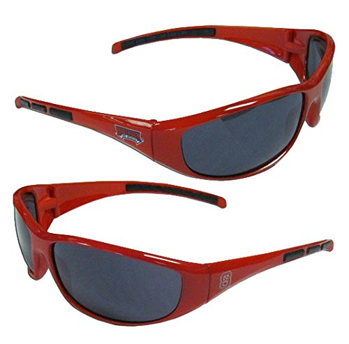 NCAA 3-Dot Wrap Sunglasses-UVA and UVB Protection-Many Teams! (NC State Wolfpack) (Wolf North Sunglasses)