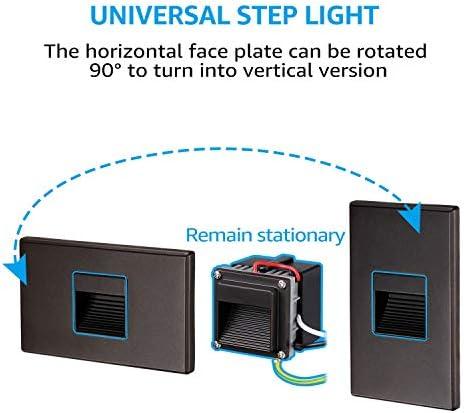 LEONLITE 120V Dimmable LED Step Light, 2.5W 3000K Warm White Stair Light, Vertical Horizontal Mount Available, ETL Listed, 5-Year Warranty, Oil Rubbed Bronze, Pack of 3