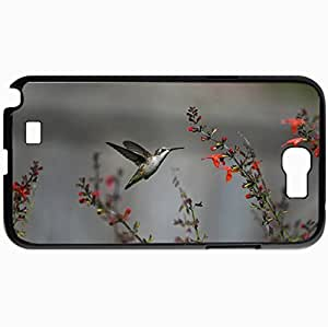 Personalized Protective Hardshell Back Hardcover For Samsung Note 2, Bird Humming Bird Flight Flowers Red Design In Black Case Color