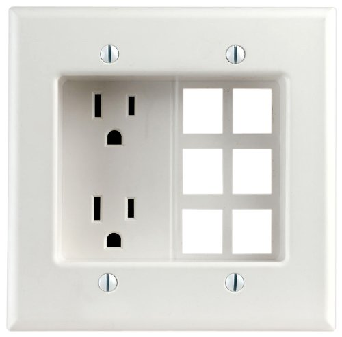 Leviton 690-W 15 Amp, 2-Gang Recessed Device with Duplex Receptacle and QuickPort Plate, Residential Grade, White