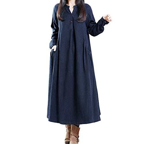 Summer Empire Waist Long Holiday Party Swing Dress Women Loose Long Sleeve V Neck Buttons Linen Maxi Dress with Pockets ()