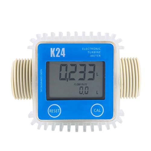 TOOGOO 1 Pcs K24 LCD Turbine Digital Fuel Flow Meter Widely Used for Chemicals Water
