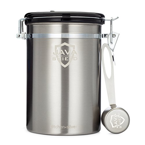 Java Shield Coffee Container – Airtight Canister with co2 Valve for Freshness – Large Stainless Steel Container with Scoop - Keep Beans and Ground Coffee Fresh Longer – Built-In Calendar Wheel ()