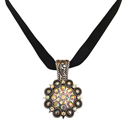 [Concho Western Cowgirl Rhinestone Oxidized Silver-Tone Bling Pendant for Necklace] (Cowgirl Concho)