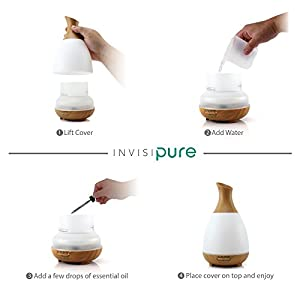 InvisiPure Alta Cool Mist Humidifier Aromatherapy Diffuser, Essential Oil Diffuser, BPA Free - 200ml - Simple to Use Humidifier for Bedrooms, Small and Large Rooms