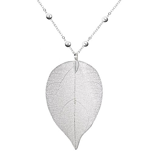 Silver Leaf Necklace (ZSE Jewelry Leaf Pendant Necklace Bohemian Pure Natural Leaf Charm Pendant Long Chain Necklace Valentine's Day Gifts (NL102-Silver))