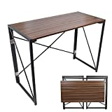 Folding Computer Desk, 39'' No Assembly Foldable Table Compact Steel Frame Wood Table Simple Modern Style Writing Study Desk Rectangular PC Laptop Workstation for Home & Office | Walnut