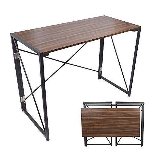 (Folding Computer Desk, 39'' No Assembly Foldable Table Compact Steel Frame Wood Table Simple Modern Style Writing Study Desk Rectangular PC Laptop Workstation for Home & Office | Walnut)