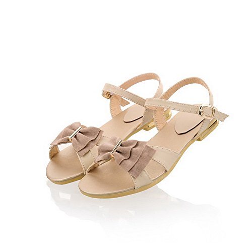 VogueZone009 Womens Open Toe PU Soft Material Solid Sandals with Bowknot and Metal Beige klSzH