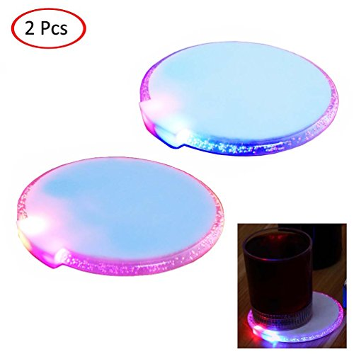 LED Coasters GUIGU Luminous Round Placemats Creative Coasters 2 Pcs for Home Decor/Bar/Cafe/Nightclub