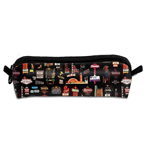 Universal Zipper Big Capacity Pencil Bag for Artist Drawing Painting Kids - Professional Storage Las Vegas Skyline Stationary Case Toiletry Bag