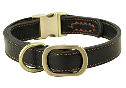 Large Adjustable Dog Collar - JIngwy All Natural Real Leather Collar for Dog/Pet 3 Sizes Available Suit for Small Medium and Large size Dog/Pet 2 Colors Brown and Black (M, Black)