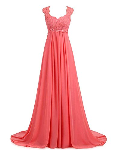 Erosebridal Boho Style Lace Chiffon Prom Dress Party Gowns Long Second Wedding Dresses Size 10 Coral ()