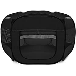 Paws & Pals Playpen for Pets Puppy, Dog, Cat Guinea Pig, Rabbit – Portable Pop Up Exercise Kennel Tent Indoor/Outdoor Pen – Foldable Travel Ready w/Carry Bag - Black