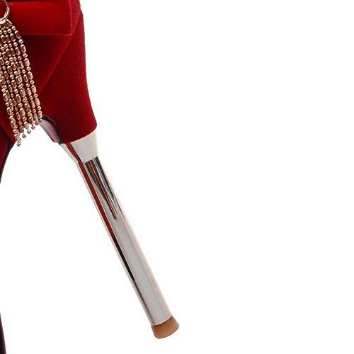 AalarDom Mujeres Hebilla Tacón de aguja Gamuza(Imitado) Sólido Peep Sandalia Rojo