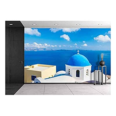 Dazzling Craft, Professional Creation, Santorini Island Greece Beautiful View of Blue Ocean and Traditional Dome Church Architecture