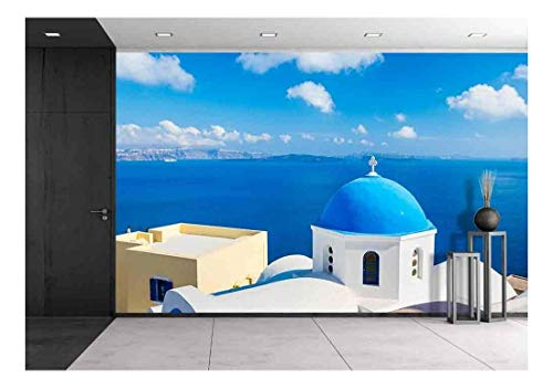 (wall26 - Santorini Island, Greece, Beautiful View of Blue Ocean and Traditional Dome Church Architecture - Removable Wall Mural | Self-Adhesive Large Wallpaper - 100x144 inches)