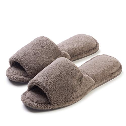 - Ultra Soft Spa Slippers for Women –Cozy, Fuzzy Terry Bathroom, House and Shower Shoes –Washable, Open Toe Taupe