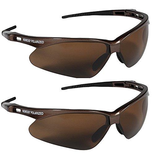 Jackson Safety V30 Nemesis Polarized Safety Glasses (2, Brown Frame with Polarized Brown - Brown Plastic Lens