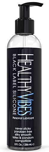 Premium Silicone Sex Lubricant by Healthy Vibes, 8 Oz Longest Lasting Personal Lube [Sensitive Skin on Women, Men, and Couples] Intimate Black Label | Paraben & Glycerin Free (Best Things To Masturbate To)