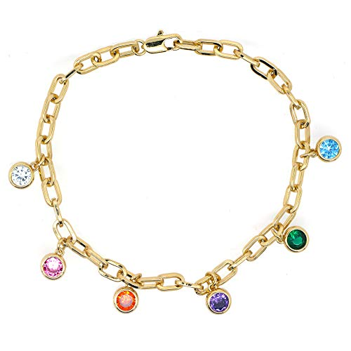 Reuglobal Rainbow Antique Women's Link Bracelet Multicolor Charms Bracelet for Women (Yellow-Gold-Plated-Brass)
