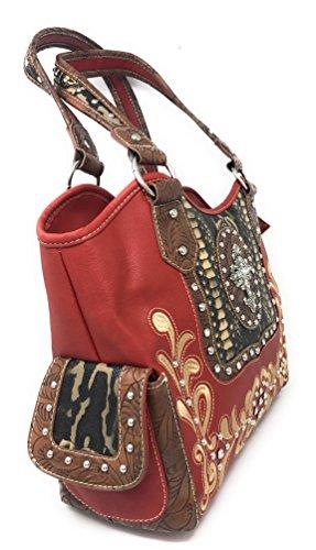 Flora Leather Rhinestone Red Studded Series Handbag Pink Dark Purse Cross Red Black Shoulder Large in Brown and Metal qCwRwgIX