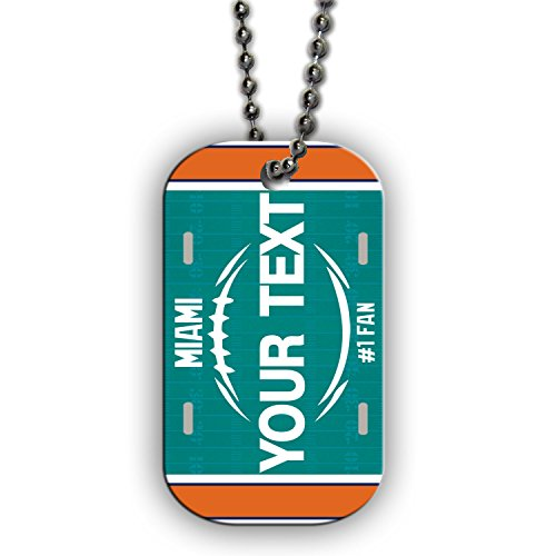 BleuReign(TM) Personalized Custom Name Football Miami License Plate Single Sided Metal Military ID Dog Tag with Beaded Chain