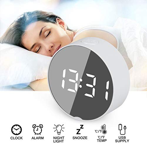 HWUKONG Alarm Clock,Round Led Mirror Alarm Clock Digital Table Clock Night Light Snooze with Temperature Electronic Despertador Home Decor,for Home Bedroom Kitchen Office
