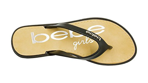 bebe Girls Jelly Thong Wedge Flip Flop Sandals with Logo Ornament Size 11/12/Silver