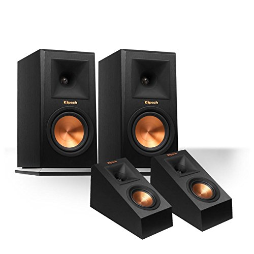 Klipsch RP-160M Reference Premiere Monitor Speakers with RP-140SA Add-On Dolby Atmos Enabled Elevation Speakers (Black) ()
